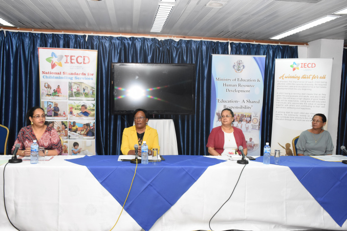 The press conference yesterday: (l to r) Mrs Choppy, Minister Simeon, Dr Barallon and Dr De Comarmond (Photo: Louis Toussaint)
